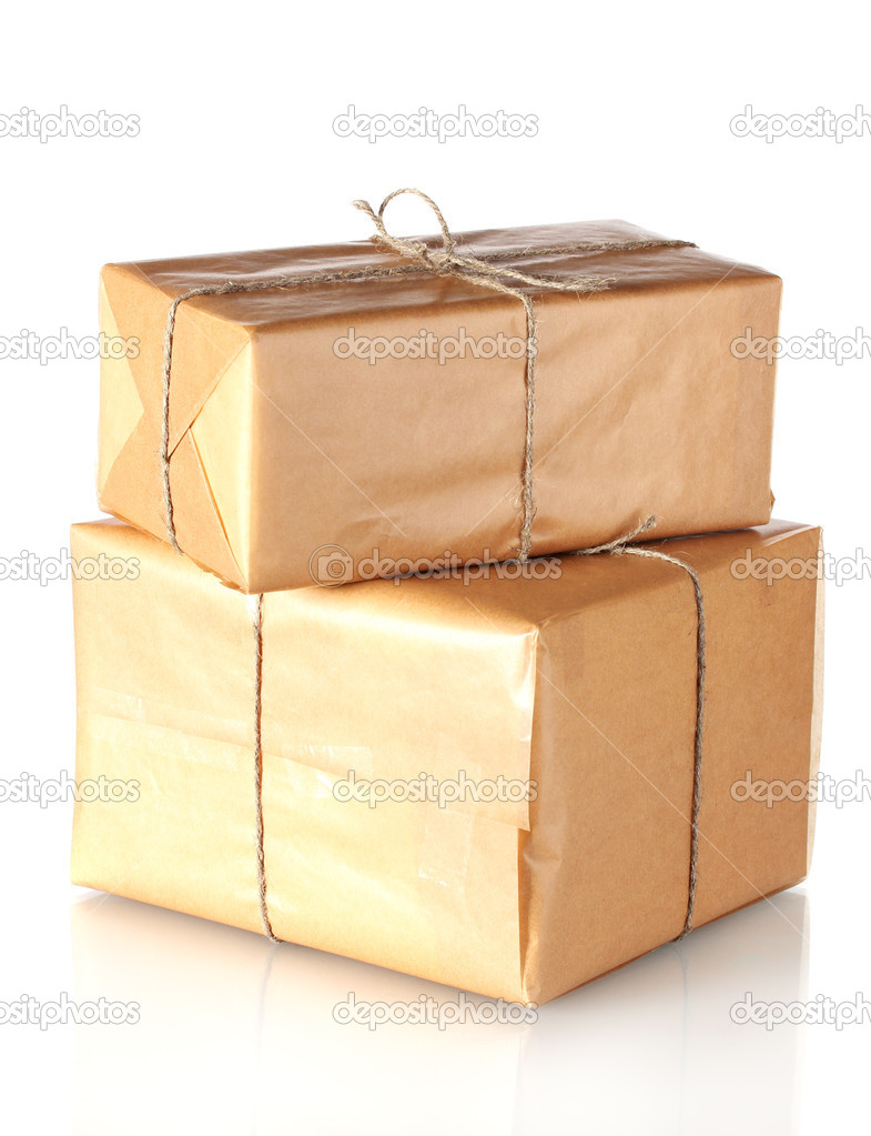 Two parcels wrapped in brown paper tied with twine arranged in stack isolated on white — Stock Photo #9887723