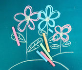 Flowers, child's drawing with chalk — Stock Photo