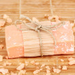 Hand-made natural soap on wooden mat — Stock Photo