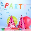 Party items on blue background — ストック写真