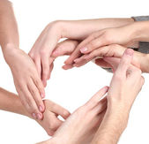 Group of young 's hands isolated on white — Stock Photo