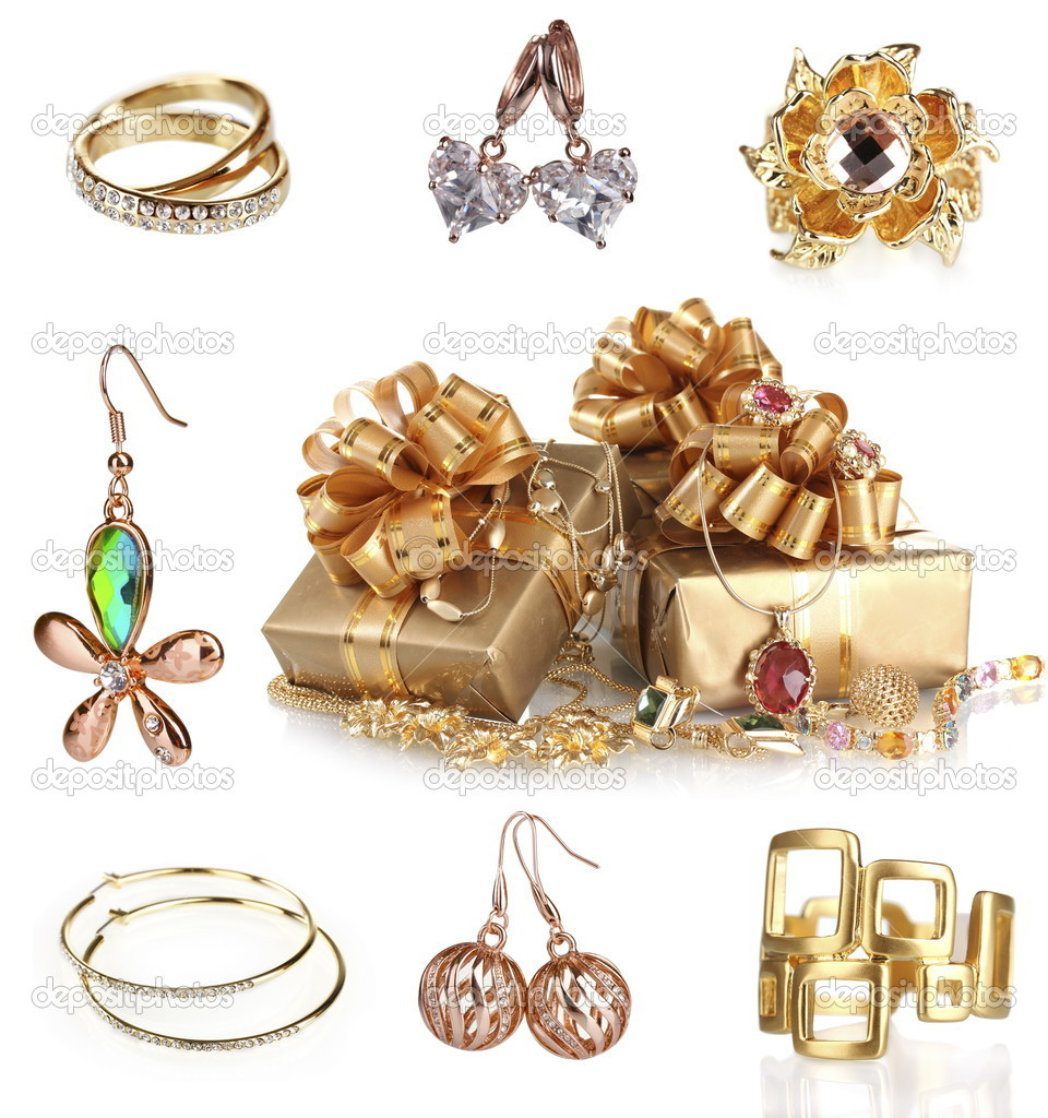 Beautiful gold jewellery collection isolated on white ...