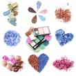 A collage of compositions of compact and crushed multicolor eyeshadow isolated on white — 图库照片
