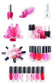 A collage of some bottles of nail polish isolated on white — Stock Photo