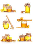 A collage of six compositions of jars of honey isolated on white — Stock Photo