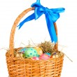 Colorful Easter eggs in the basket with a blue bow isolated on white — Stock Photo #9991079