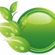 Ecology button - green leaves — Stock Photo #9818210