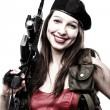 Stock Photo: Girl holding Rifle islated on white background