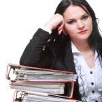 Beautiful woman with folders — Stock Photo