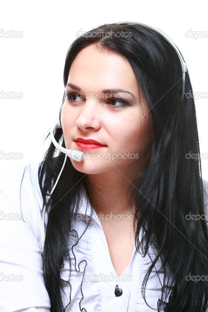 Young brunette girl with headphones isolated — Stock Photo #10005734