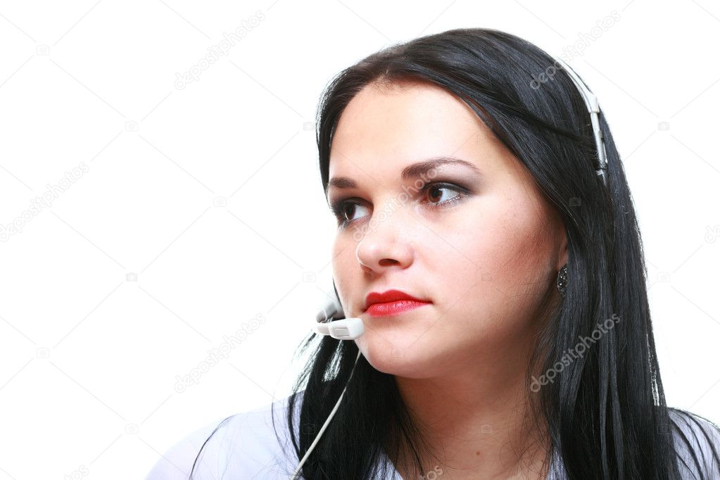 Young brunette girl with headphones isolated  Stock Photo #10005749