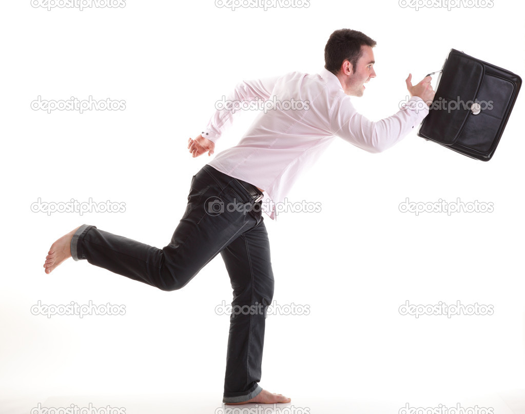 Businessman running with a briefcase, isolated on white background  Stock Photo #10128770