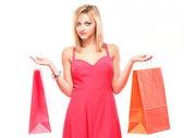 Encantadora mujer con bolsas de compras — Foto de Stock