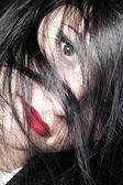 Beautiful brunette woman long hair — Stock Photo