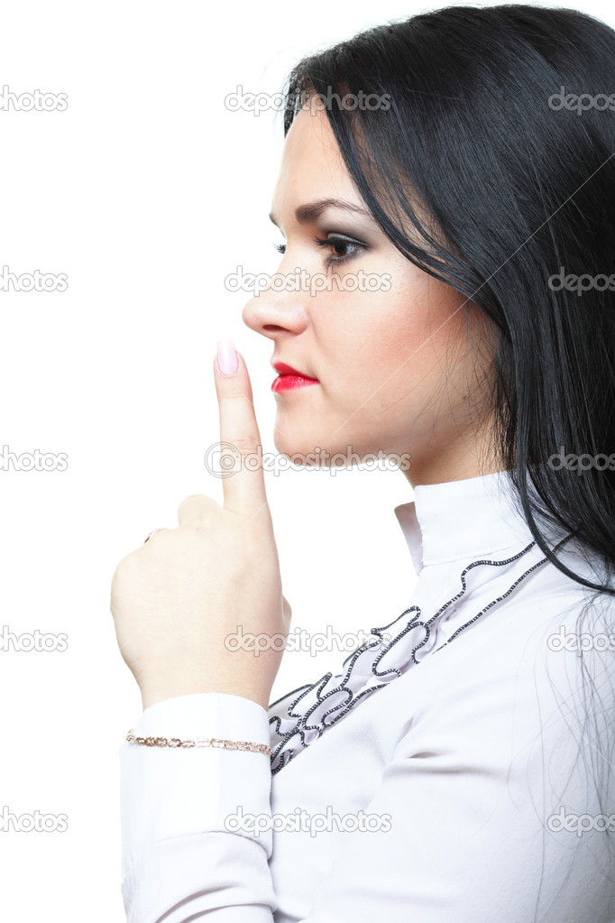 Young woman brunette girl asking for silence white isolated — Stock Photo #8410339