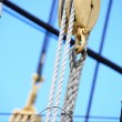 Stock Photo: Masts and rope of sailing ship.