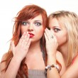 Stock Photo: Society gossip - two happy young girlfriends talking white backg
