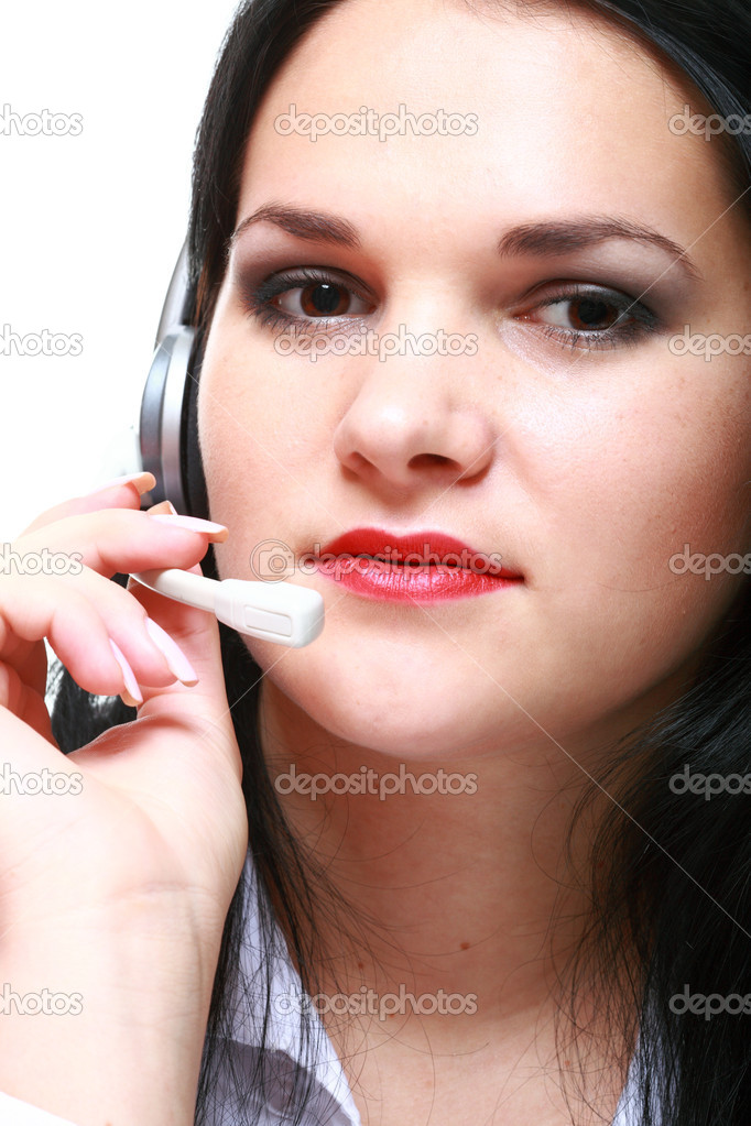Young brunette girl with headphones isolated — Stock Photo #9259639