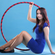 Royalty-Free Stock Photo: Dance hoop Beautiful woman in blue