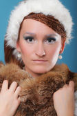 Beautiful ginger in a dress of Snow Queen — Stock Photo