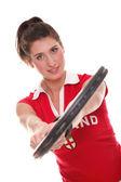 テニス ラケットを持つ若い女性から分離されたスタジオ画像 — ストック写真