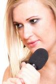 Femme chanter rock chanson micro isolé — Photo