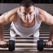 Pushups workout - Stock Photo