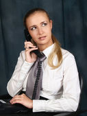 The girl secretary or operator call center in the workplace — Stock Photo