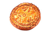 Pie stuffed inside on a white background — Stock Photo
