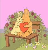 Hare in love — Stock Vector