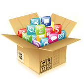 Cardboard Box with Set of Icons — Stock Vector