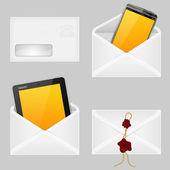 конверты с смарт-телефон — Cтоковый вектор