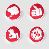 Sticker met hand, verzamelen de zeepbel en stempel pictogram spraak — Stockvector