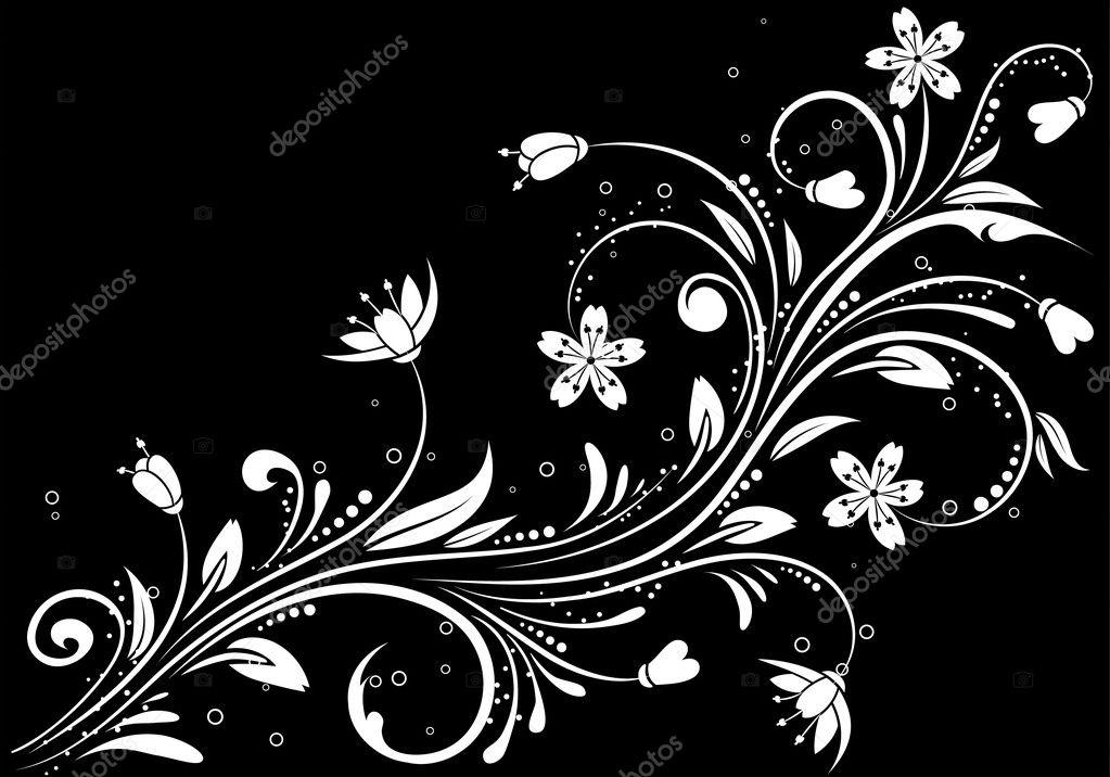 花卉背景上黑色,为设计, 矢量插画元素分离– 图库插图