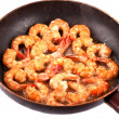 Frying Pan with Tiger Prawns - Stock Photo