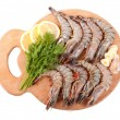 Stock Photo: Board with Tiger Prawns