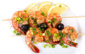 Barbecue with Tiger Prawns — Stock Photo