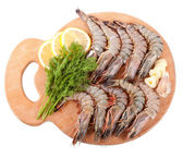 Board with Tiger Prawns — Stock Photo