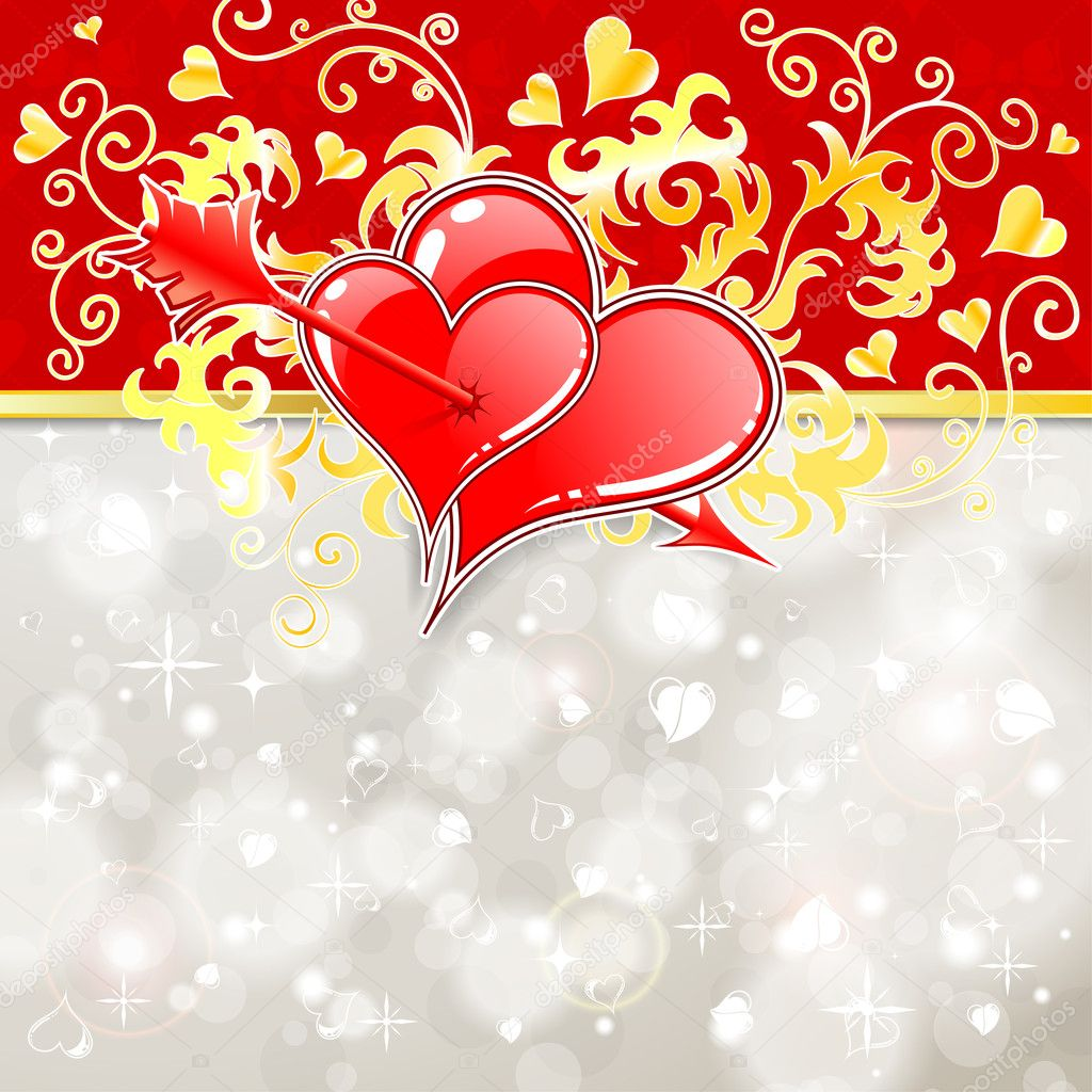 Valentines Day Background with Hearts, Arrow and Florals, element for design, vector illustration  Stock Vector #8777798
