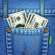 Jeans Pocket with Dollar Bills — Stock Vector