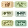 Set Cinema Ticket — Imagen vectorial