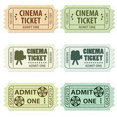 Set Cinema Ticket — Stok Vektör