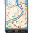 Stock Vector: Smart Phone with GPS Navigation Application