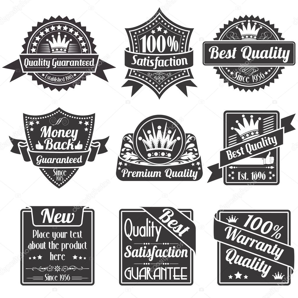 Collection Best Quality and Guarantee Labels, isolated on white background, vintage design, vector  Stock Vector #9860661