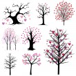 Love tree vector set — Stockvectorbeeld