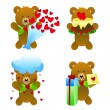Teddy bear with love gifts — Stock Vector
