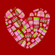 Vettoriale Stock : Gift boxes in shape of heart