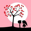 Couple under love tree — Stock Vector
