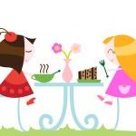 Girls eating dinner — Stock Vector