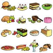 Yemek ve tatlı seti — Stok Vektör